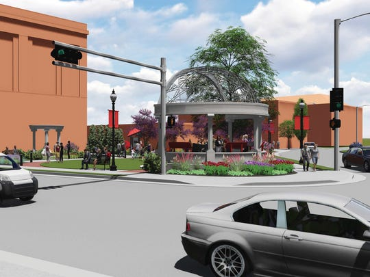 An artist's rendering by MSA Professional Services shows the redesigned William Waters Plaza at the corner of State Street and Washington Avenue.