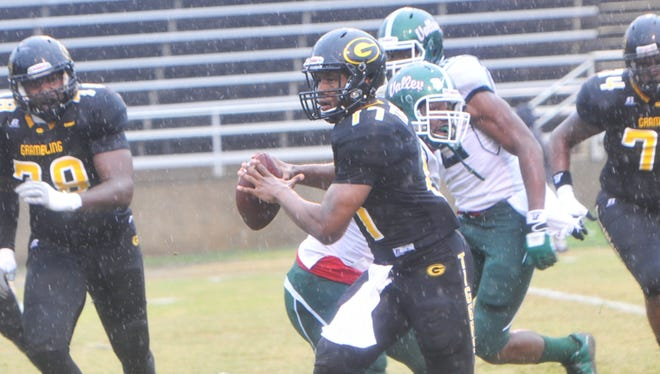 Grambling quarterback Johnathan Williams looks for a receiver down field in Saturday's game against Mississippi Valley State.