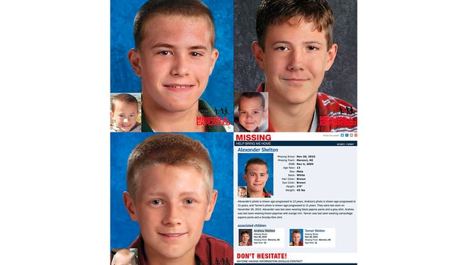 In the picture: Alexander Skelton. Michigan State Police have released age-progression images of brothers Andrew, Alexander and Tanner Skelton, who vanished in 2010. Their father is serving time for false imprisonment.