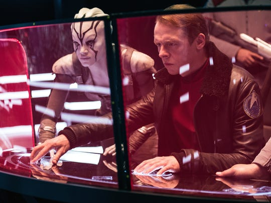 "Sofia Boutella plays Jaylah and Simon Pegg plays Scotty in ""Star Trek Beyond."""