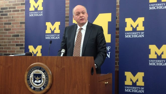 U-M interim AD Jim Hackett introduced at a press conference on Oct. 31, 2014.