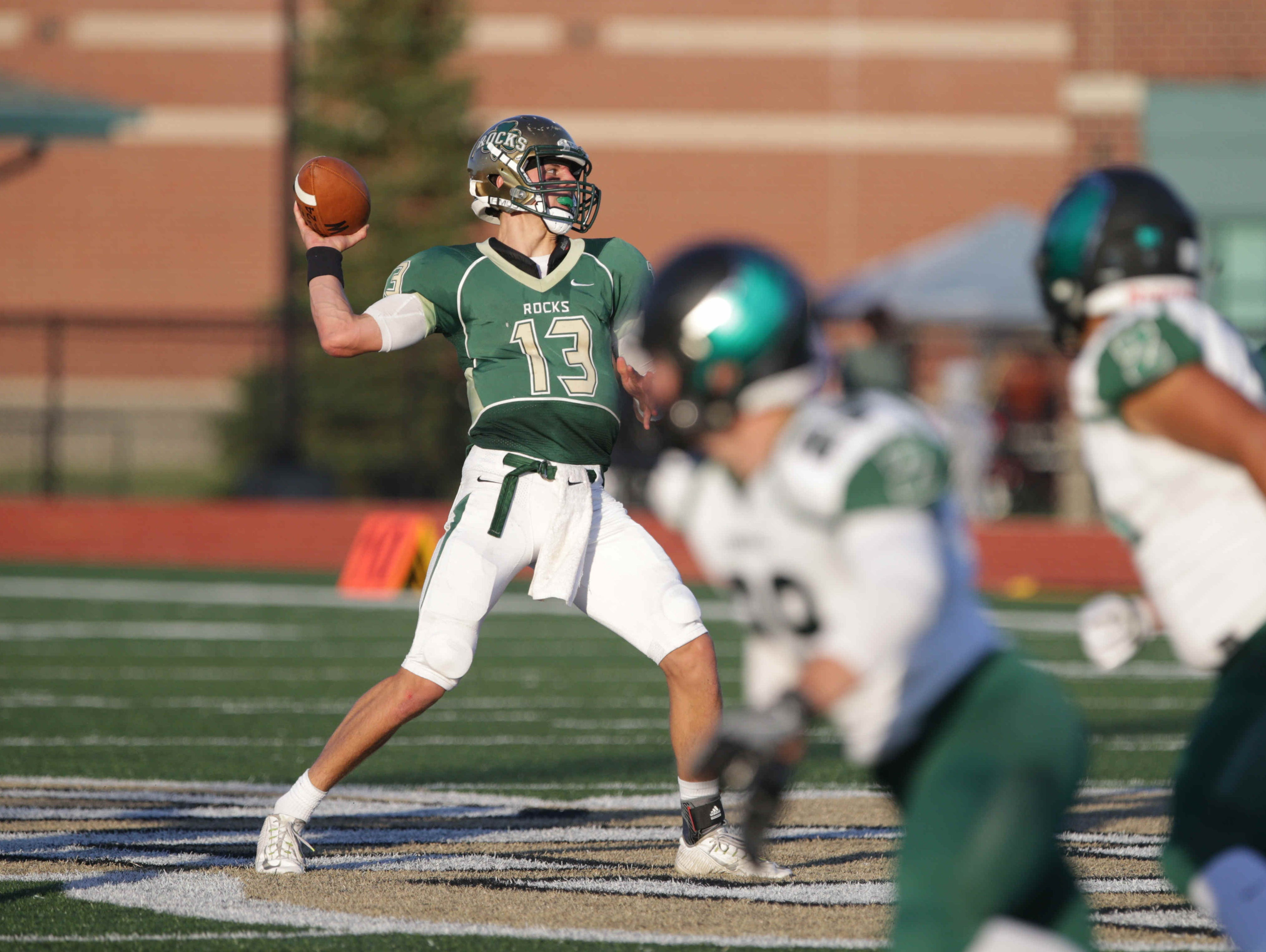 Westfield QB Andrew Sweet throws a pass against Zionsville, Sept. 2, 2016.