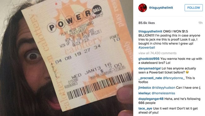 Pro skateboarder Erik Bragg posted on Instagram Wednesday night claiming he won the lottery.
