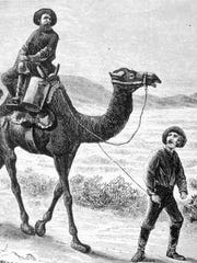 Members of the U.S. Camel Corps in the southwestern desert in 1857.  Archive illustration.