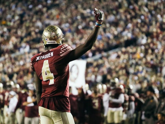 Tarvarus McFadden (4) pumps up the crowd during the first half against the Florida Gators on Saturday, November 26, 2016. The Seminoles defeated the Gators 31-13.
