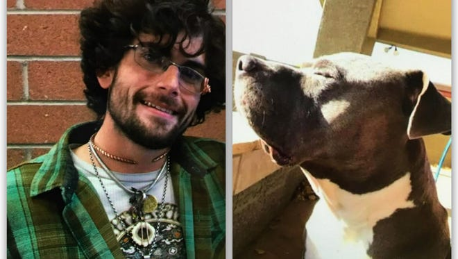 Jonathan McRae and the dog he was last seen with Sunday.