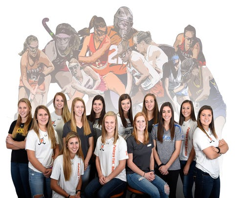 Let's meet the 2016 Lebanon Daily News/GameTimePA Lebanon All-County Field Hockey Team. Clockwise from front middle, Katelyn Mark, Palmyra, Jess Dembrowski, Palmyra, Lexy Smith, Palmyra, Hannah Whitman, Northern Lebanon, Kylie Bomgardner, Michaela Singer, Annville-Cleona,Kendra Bicksler, Elco, Emily Witmer, Elco, Harper Sellers, Annville-Cleona, Emily Peters, Cedar Crest, Lauren Wadas, Palmyra, Cheyenne Sprecher, Palmyra, Katelyn Brightbill, Annville-Cleona.