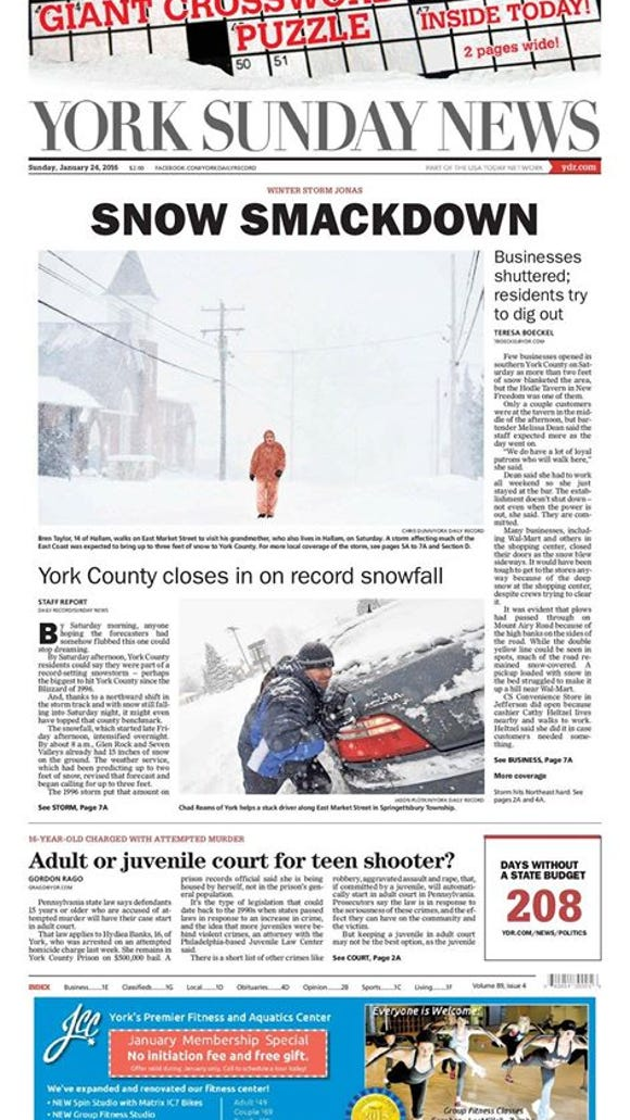 The York Sunday News front page reflects the record-setting
