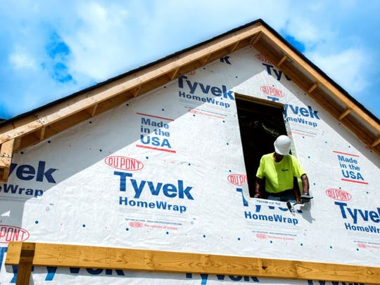 A house covered in Tyvek.