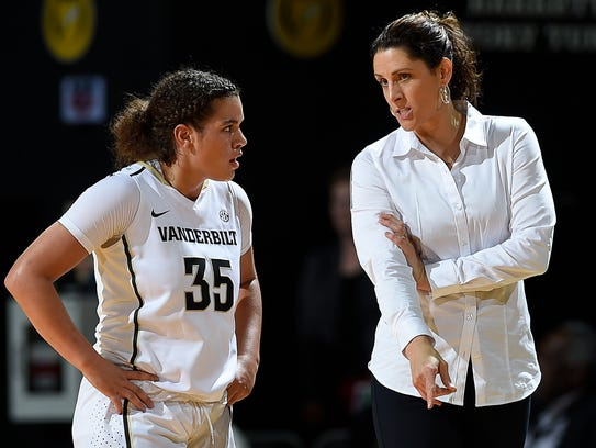Vanderbilt coach Stephanie White gives instructions to guard Kaleigh Clemons-Green (35) during the second half of their game against MTSU on Nov. 10.