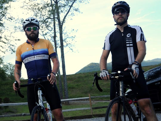 Dustin Donovan, left, and Jeff Sawdy ride frequently in Black Mountain, and are encouraged by the town's adoption of a bike plan.