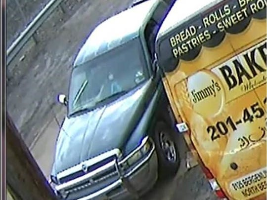 The green Dodge Ram believed to be involved with the alleged theft of a welding machine and dolly from a Linden bakery.