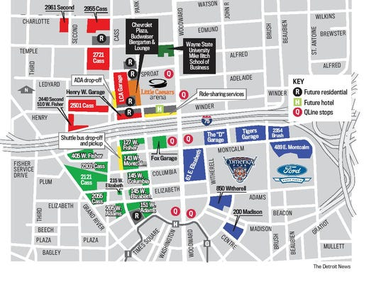 Parking around the new Little Caesars Arena offers