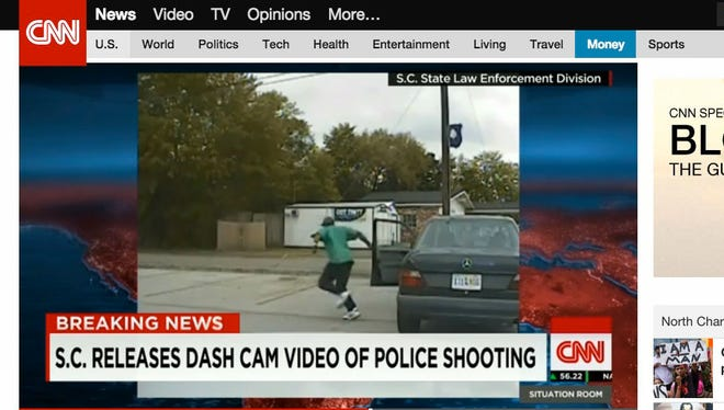 Charleston, S.C.  4/11/2015 _ The dash cam video from Officer Michael Slager's patrol car shows Walter Scott get out of his car and ran out of the area the camera could record. This is a frame grab of the video being hosted on CNN.com.