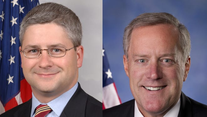 U.S. Reps. Patrick McHenry, left, and Mark Meadows.