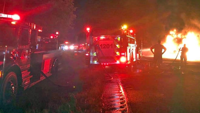 Firefighters from five departments responded to the fiery wreck on Highway 278 on June 29.