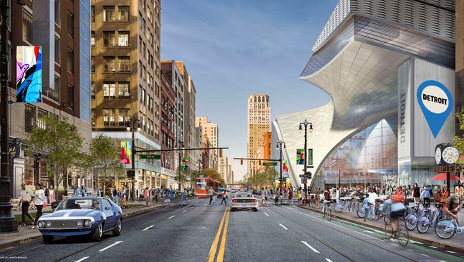 Rendering provided by Rock Ventures shows Dan Gilbert's plans for the Hudson's site on the right. Two architectural firms, SHoP of New York and Hamilton Anderson of Detroit, are designing the project.