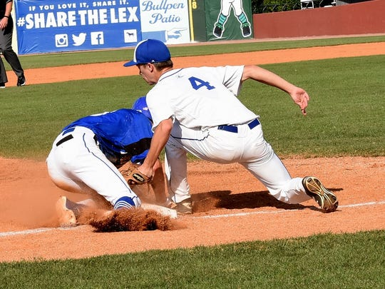 Sam Hennigan (4) is just a bit late on the Third Base tag as Paintsville snags a stolen base at the KHSAA State Baseball Quarterfinal in Lexington, KY, June 9, 2018.