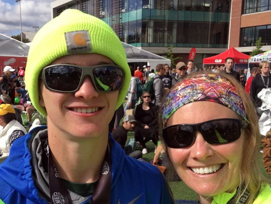 Oliver Wilson-Cook and his mother Nicole after running