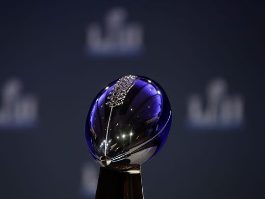 The Vince Lombardi Trophy is seen before a news conference