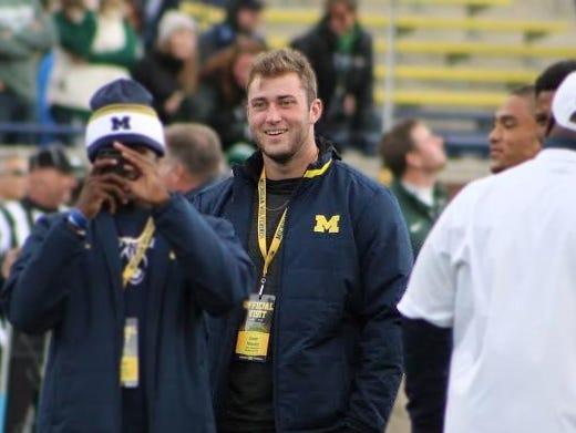 Tight end recruit Isaac Nauta visited Michigan Stadium on Saturday, Oct. 17, 2015.