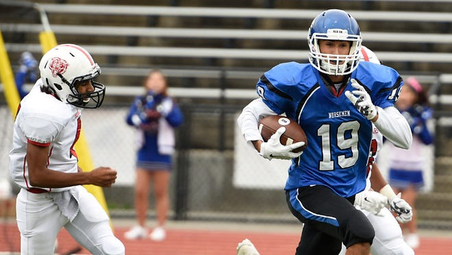 NV/Demarest wide receiver Ryan Vadis had 11 catches for 154 yards and one touchdown in the Norsemen's win over Paramus. Vadis earned a NorthJersey.com game ball for his showing.