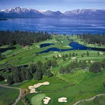 An overhead shot of Edgewood Tahoe Golf Course.