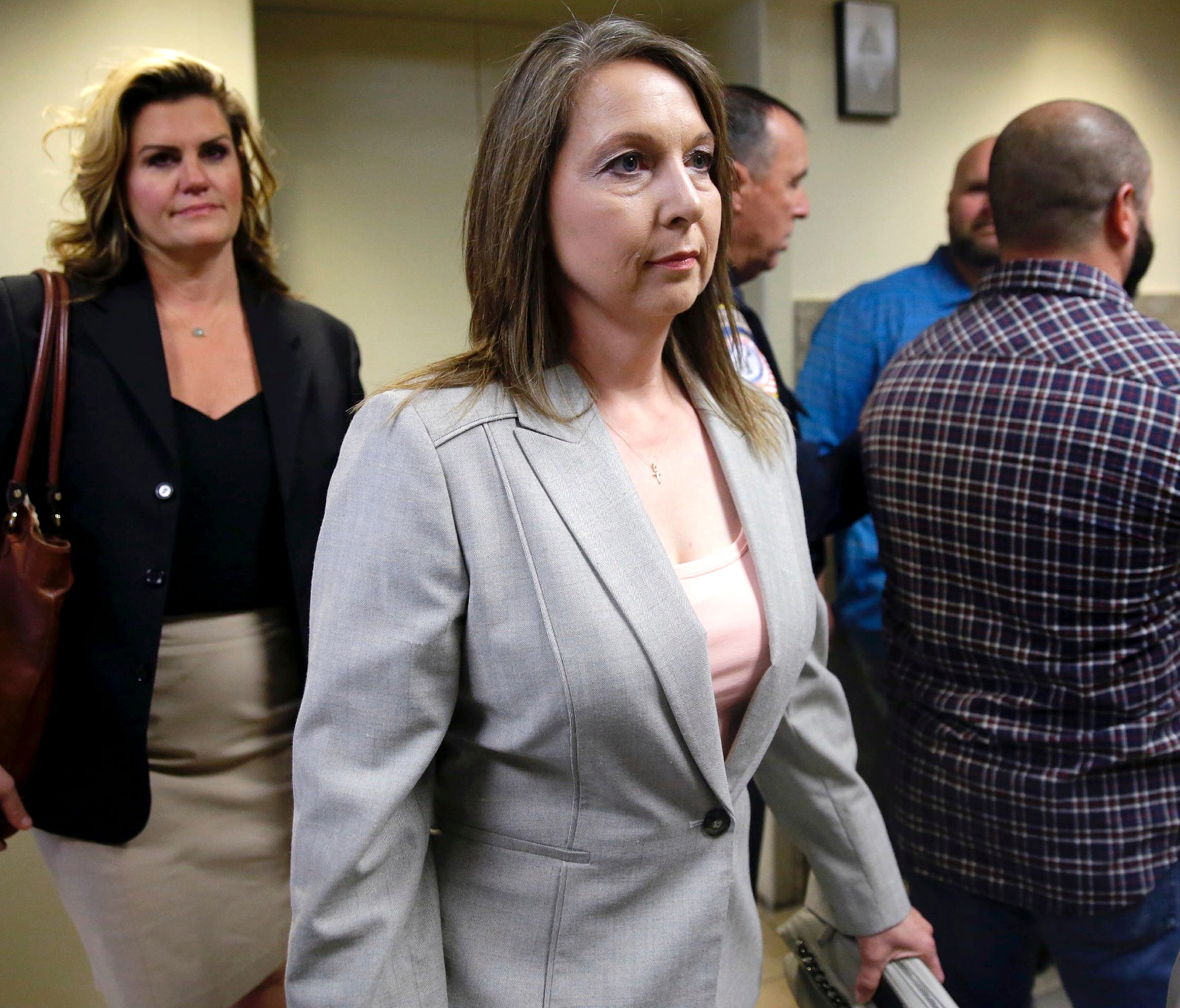 Tulsa police officer  Betty Jo Shelby is pictured arriving to her manslaughter trial in the shooting of Terence Crutcher.