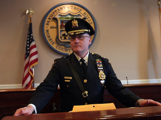 Parsippany Police Chief Paul Philipps speaks after he was sworn in as permanent chief at council chambers in the Parsippany municipal building. March 28, 2018