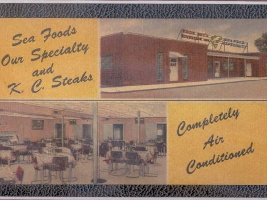 This postcard from the 1950s showcases Poor Boy's Riverside Inn, the first fully air conditioned restaurant in town.
