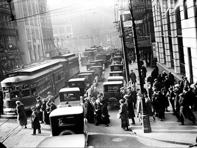 Detroit's Griswold Street was bustling in the 1920s,