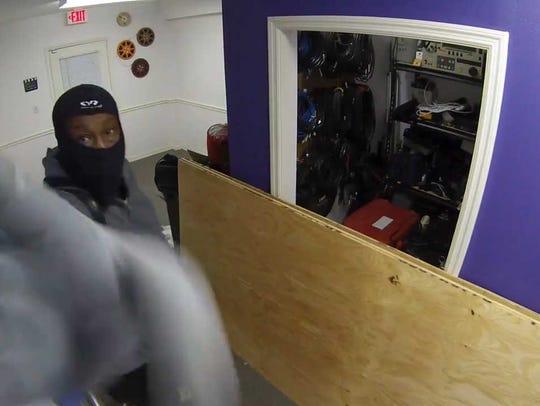 A still frame from a surveillance video shows a scene