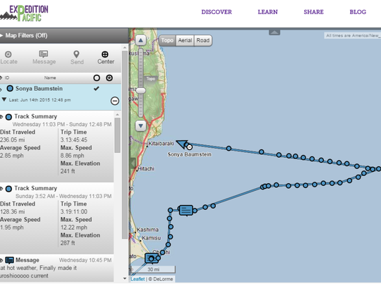 The tracker on Baumstein's boat shows the journey she