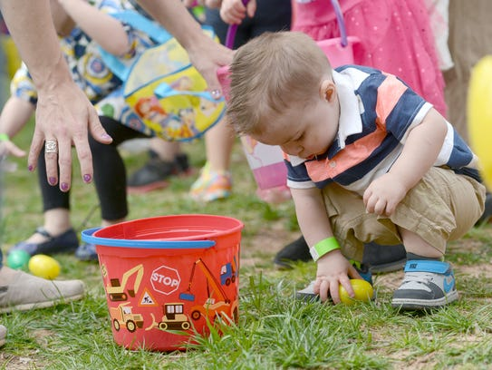 Chance Fashano finds an egg at last year's Easter on
