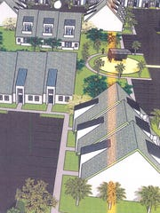 A concept drawing of Towles Garden by the MacFarlane Group proposes 140 town homes on leased city land at the corner of Veronica S. Shoemaker Boulevard and Edison Avenue in Fort Myers.