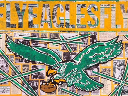 'Fly Eagles Fly,' a collage and stencil work by Mount Ephraim artist Jason Whitcraft.
