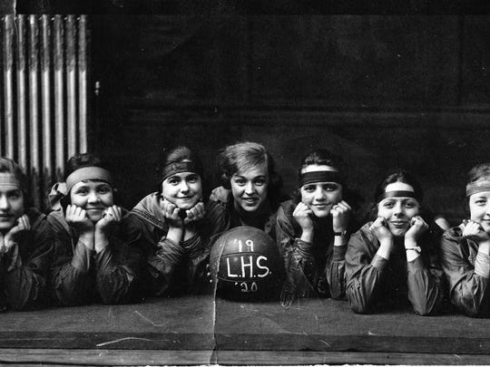 The Lancaster High School girls basketball team of 1919-20 included, from left, Helen Moody, Midred Anderson, unidentified, unidentified, captain Mary Kerns, Kate Nolder, Grace Herman, Esther Shaw and Katherine Brenner.