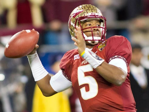 Dec 7, 2013; Charlotte, NC, USA; Florida State Seminoles quarterback Jameis Winston (5) throws a pass during the first quarter against the Duke Blue Devils at Bank of America Stadium. Mandatory Credit: Jeremy Brevard-USA TODAY Sports