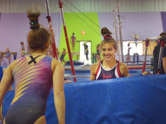 Gymnast Danielle Sievers practices Tuesday, June 12,