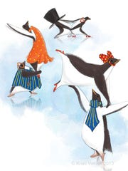An illustration from Penguin Cha Cha, written and illustrated