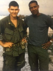 Sergeants Alfredo Gonzalez and John Canley pose for a photo in 1968. Gonzalez won a Medal of Honor for his heroism. Now Canley is on the cusp of receiving the same honor.
