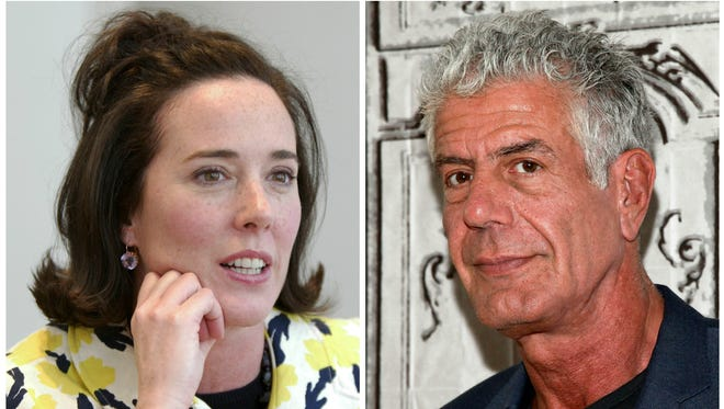 This combination of 2004 and 2016 file photos shows fashion designer Kate Spade and chef Anthony Bourdain.