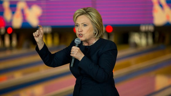 Hillary Clinton speaks at a campaign event at Adel