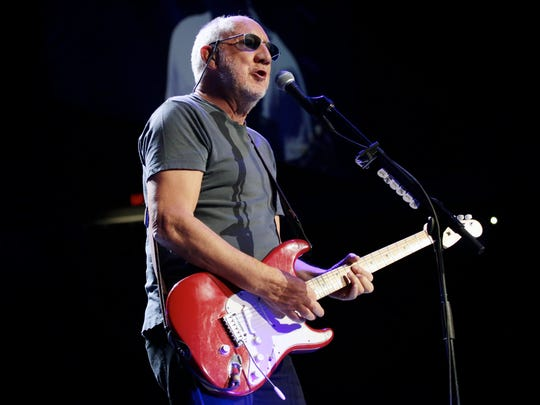 The Who guitarist Pete Townshend performs at Joe Louis Arena on Saturday, Feb. 27, 2016, in Detroit.