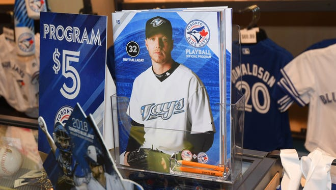 The Toronto Blue Jays souvenir program on sale at the concession stands during batting practice before the home opener against the New York Yankees at Rogers Centre in Toronto on Thursday, March 29, 2018.