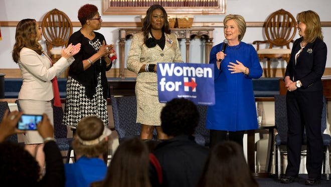 Hillary Clinton speaks during a campaign event at the Central Baptist Church in Columbia, S.C., on Feb. 23, 2016, with mothers of victims of gun violence, from left, Lucia McBath, mother of Jordan Davis; Maria Hamilton, mother of Dontre Hamilton; Sybrina Fulton, mother of Trayvon Martin; along with former congresswoman Gabrielle Giffords.