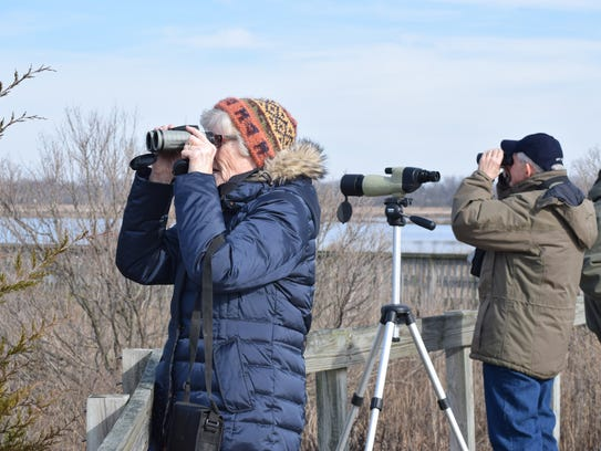 Peg and Stan Urban of Mullica Hill scan the sky from