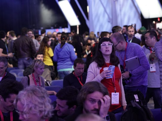 A crowd awaits the start of Facebook's F8 conference
