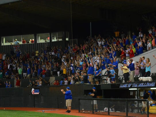 Louisiana Tech fans react after beating Rice in the