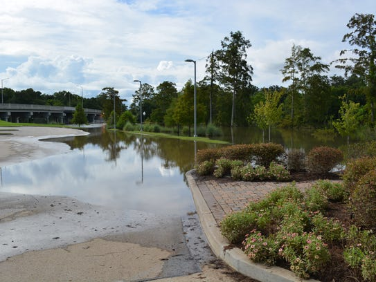Water from the Vermilion River stands in the parking